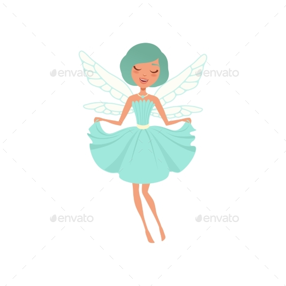 Cartoon Smiling Fairy Girl in Blue Dress - People Characters