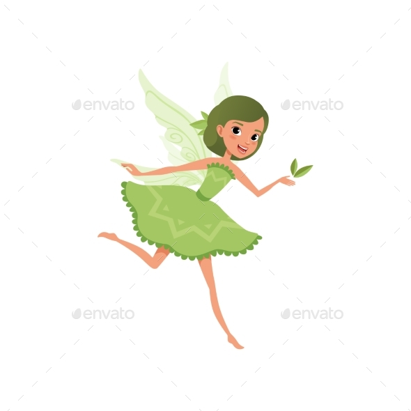 Fantasy Forest Fairy with Green Hair in Little - People Characters