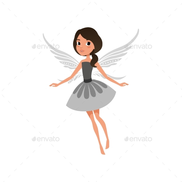 Fairy with Big Shiny Eyes in Flying Action. - People Characters