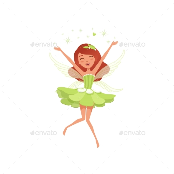 Magical Fairy in Green Dress - People Characters