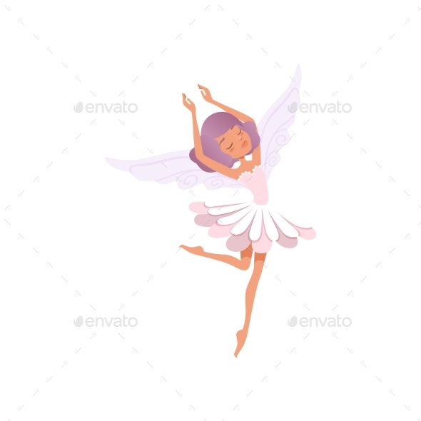 Dancing Fairy Girl with Purple Hair Wearing Flower - People Characters