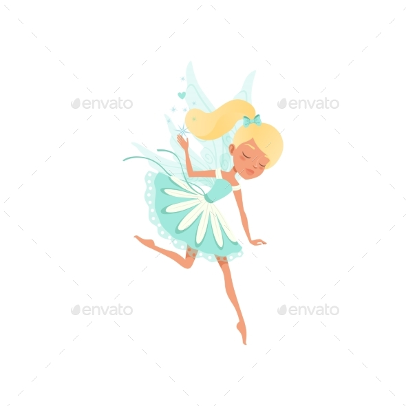 Lovely Fairy in Flying Action. Imaginary Fairytale - People Characters