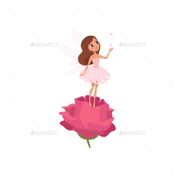 Cartoon Fairy Girl Standing on Rose  - People Characters