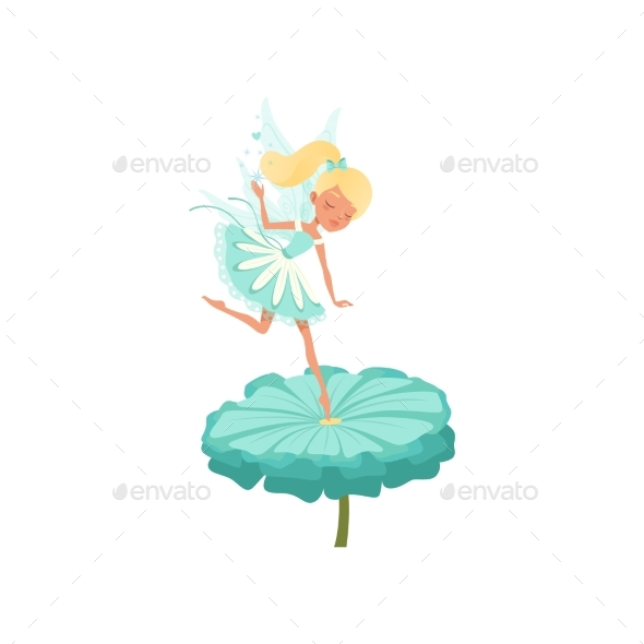 Fairy Hovering Over Flower - People Characters
