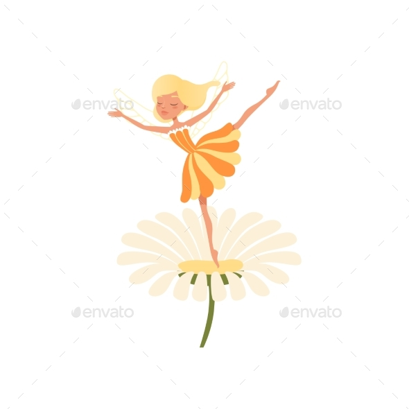 Fairy Dancing on Daisy Flower - People Characters