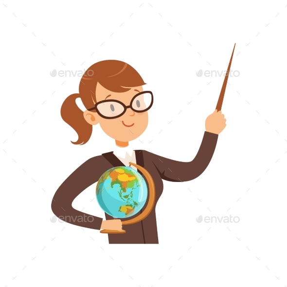 Teacher Character with a Pointer and Globe Vector - Miscellaneous Vectors