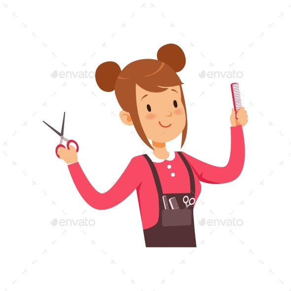 Hairdresser Character with Scissors Vector - People Characters