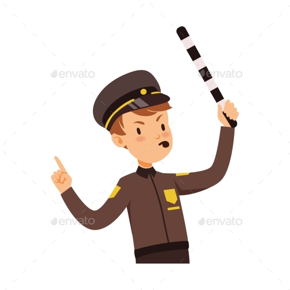 Police Officer Character Managing Road Traffic - People Characters