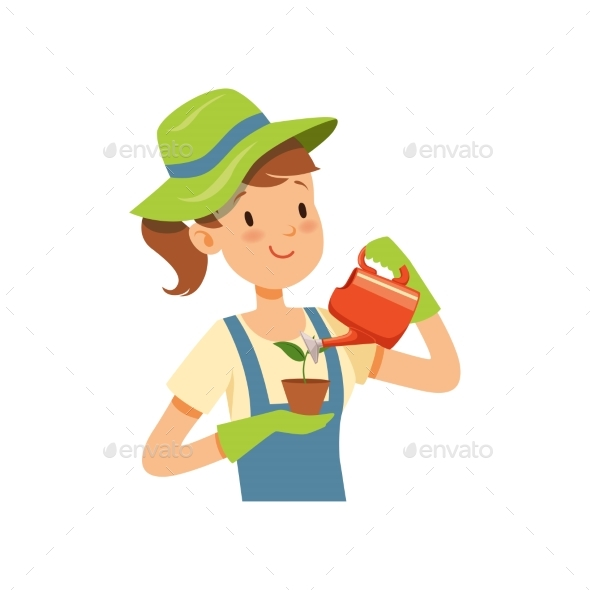 Girl Gardener Character, Girl Watering a Plant - Flowers & Plants Nature