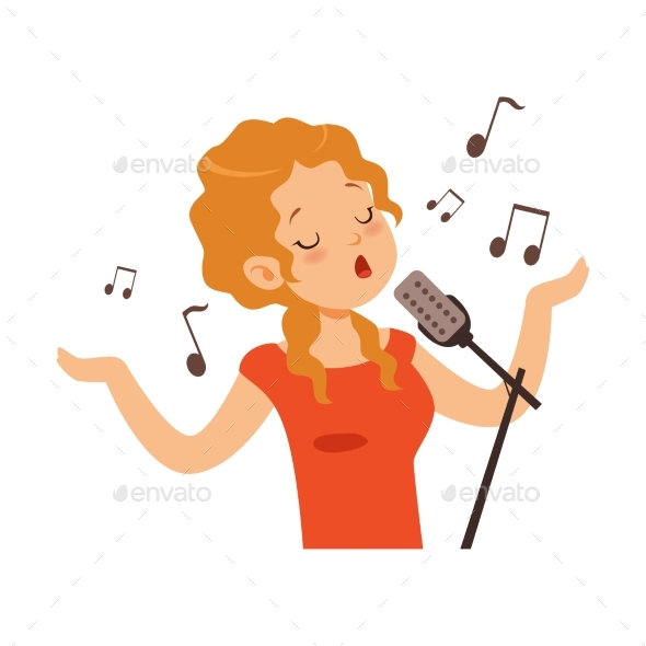 Girl Singing with Microphone, Singer Character - People Characters