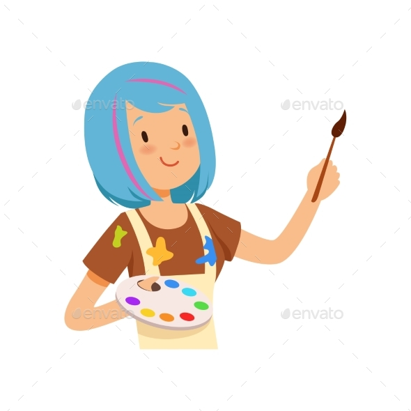 Artist Character, Girl with Blue Hairs Holding - Miscellaneous Vectors