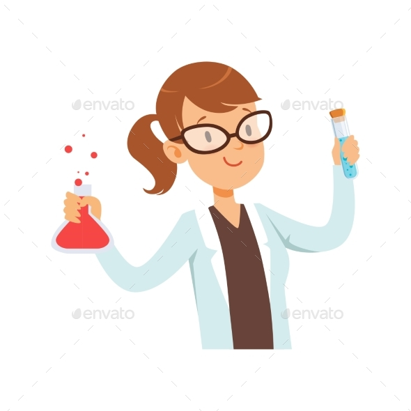 Girl Chemist Character, Female Scientist in White - Technology Conceptual
