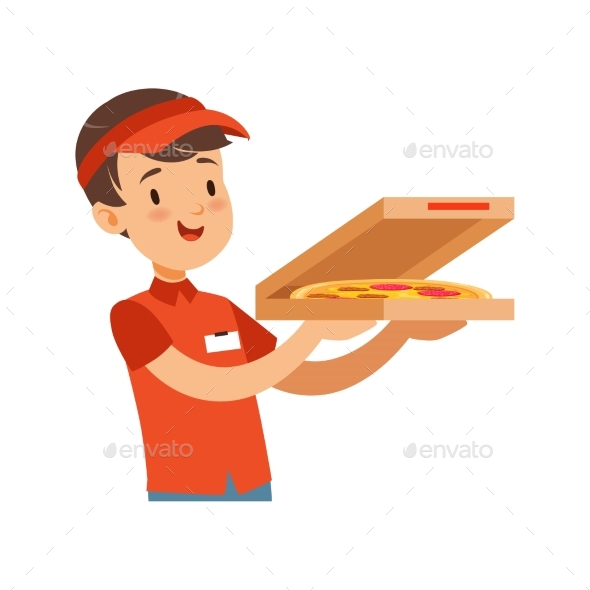 Pizza Delivery Boy Character with Box, Boy in Red - People Characters