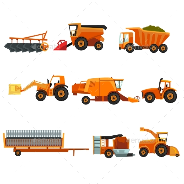 Flat Vector Set of Agricultural Transports. Rural - Industries Business