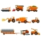 Flat Vector Set of Agricultural Transports. Rural