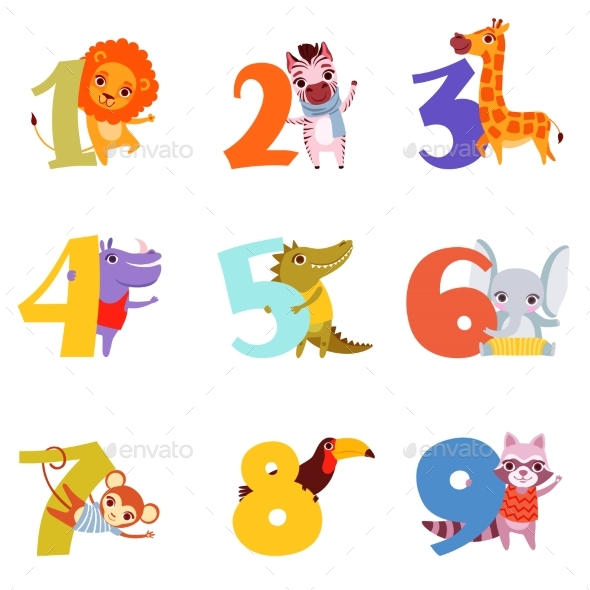 Colorful Numbers From 1 To 9 and Animals. Cartoon - Miscellaneous Vectors