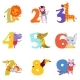 Colorful Numbers From 1 To 9 and Animals. Cartoon