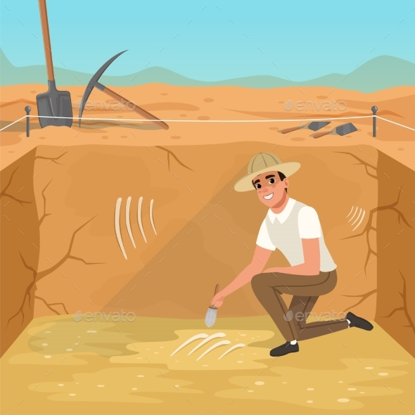 Man Sitting in Square Pit and Sweeping Dirt - People Characters
