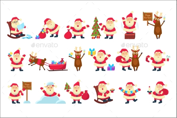 Set with Santa Claus in Different Poses - Seasons/Holidays Conceptual