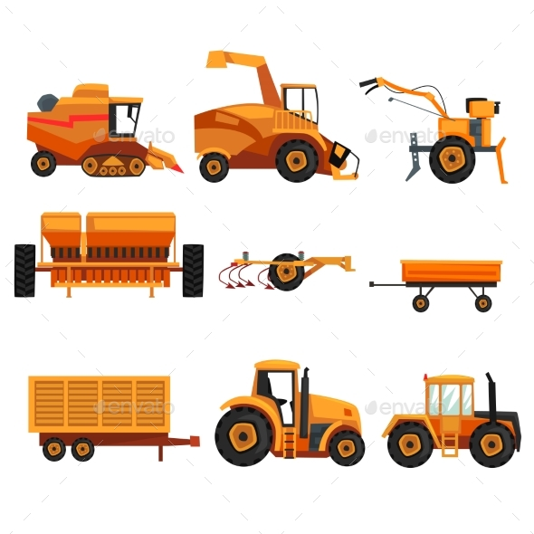 Set with Different Heavy Machinery - Industries Business