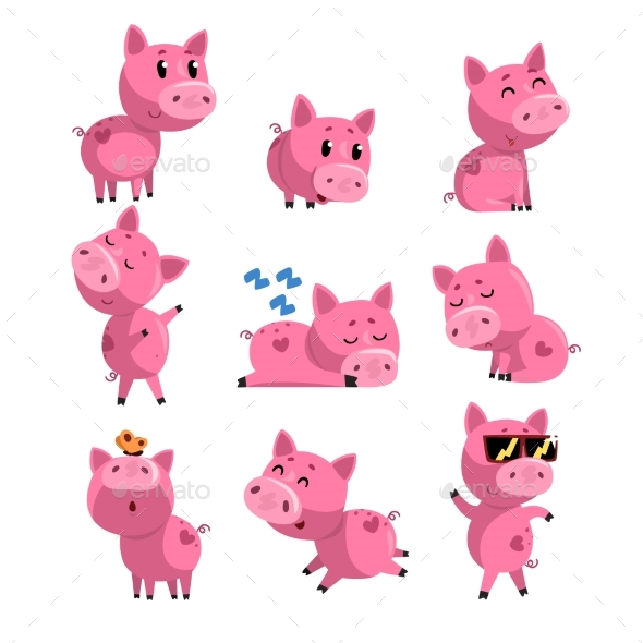 Set of Pig in Different Actions - Animals Characters