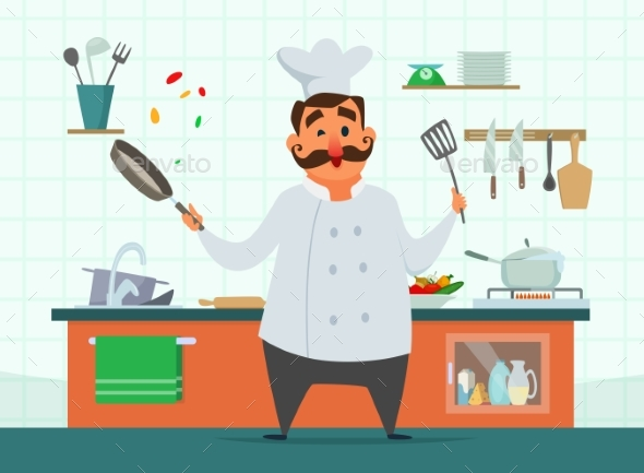 Chef Cooking on the Kitchen - Miscellaneous Vectors
