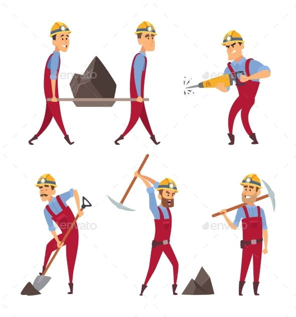 Set of Working People. Miners in Different Action - People Characters