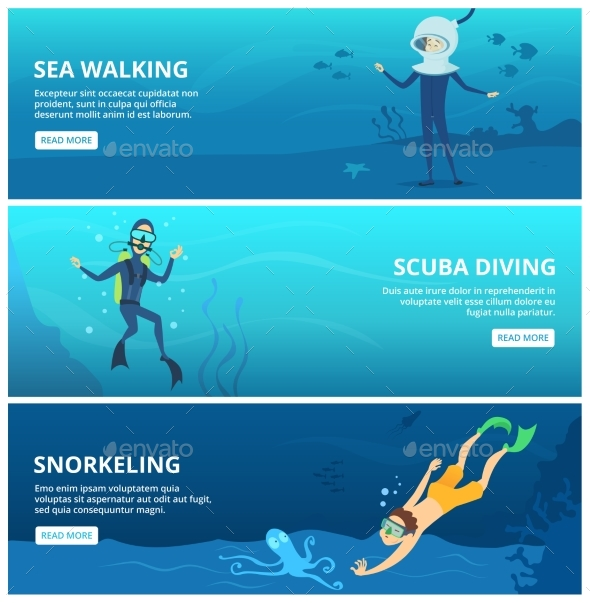 Horizontal Banners with Sea Scuba Divers. - People Characters