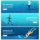 Horizontal Banners with Sea Scuba Divers.