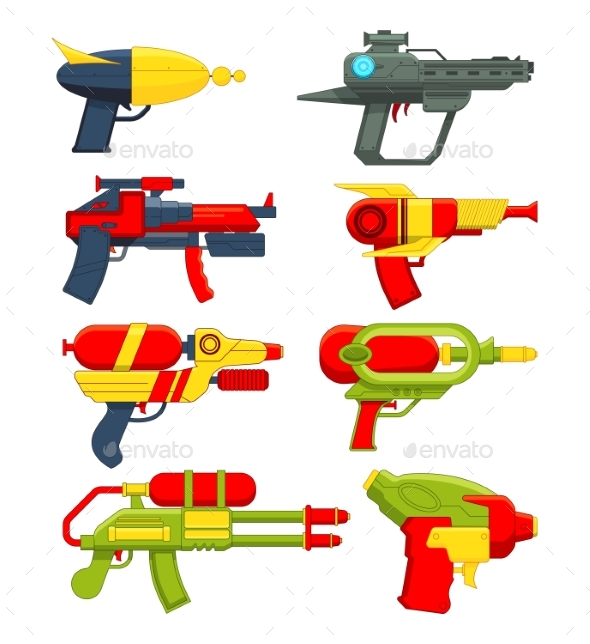 Water Guns. Weapons Toys for Childrens - Objects Vectors
