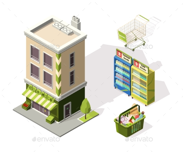 Isometric Tools for Supermarket. 3d Illustrations - Buildings Objects