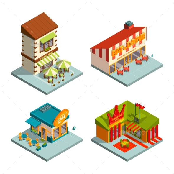 Restaurants and Coffee Houses. Isometric Buildings - Buildings Objects