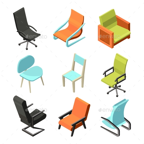 Office Furniture. Different Chairs and Armchairs - Objects Vectors