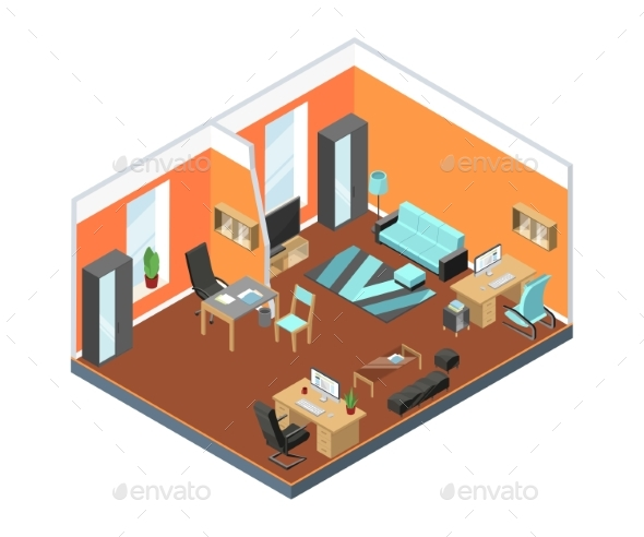Modern Office Interior with Comfortable Workspaces - Objects Vectors