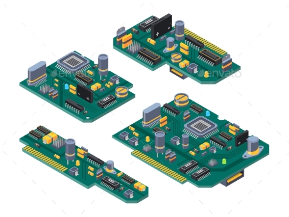 Different Computer Boards with Semiconductors - Objects Vectors