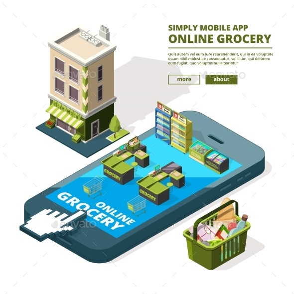 Concept Illustration of Online Shopping. Buying - Miscellaneous Vectors