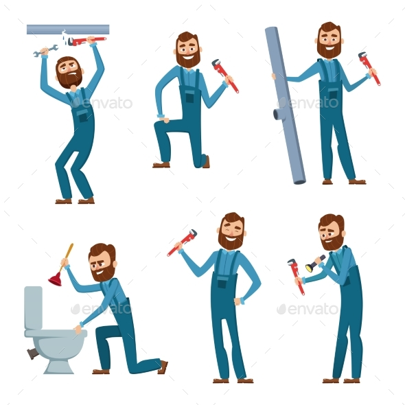Plumber at Work. Characters Design Set - People Characters