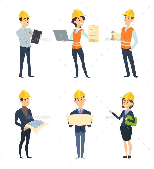 Industrial Workers. Male and Female Architect - People Characters