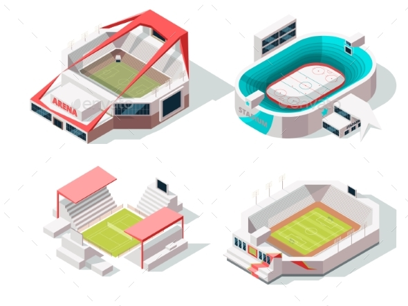 Exterior of Stadium Buildings Hockey, Soccer - Buildings Objects