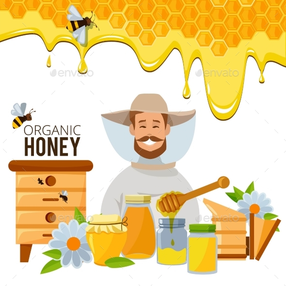 Vector Poster Template of Apiary Theme - Food Objects