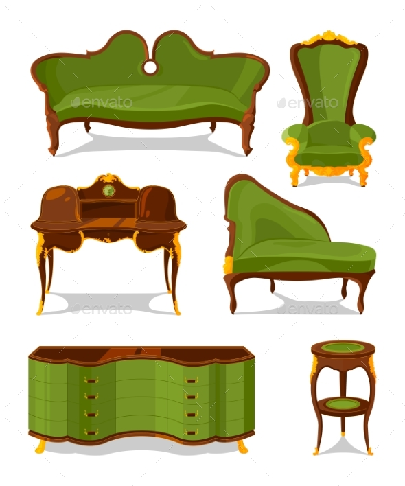 Retro Old Decorative Furniture for Living Room - Objects Vectors