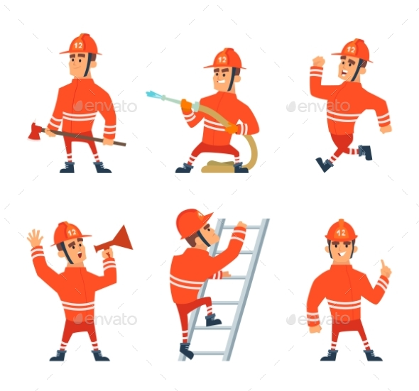 Fireman on the Work. Different Action Poses - People Characters