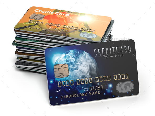Stack of colored credit cards isolated on white background, - Stock Photo - Images
