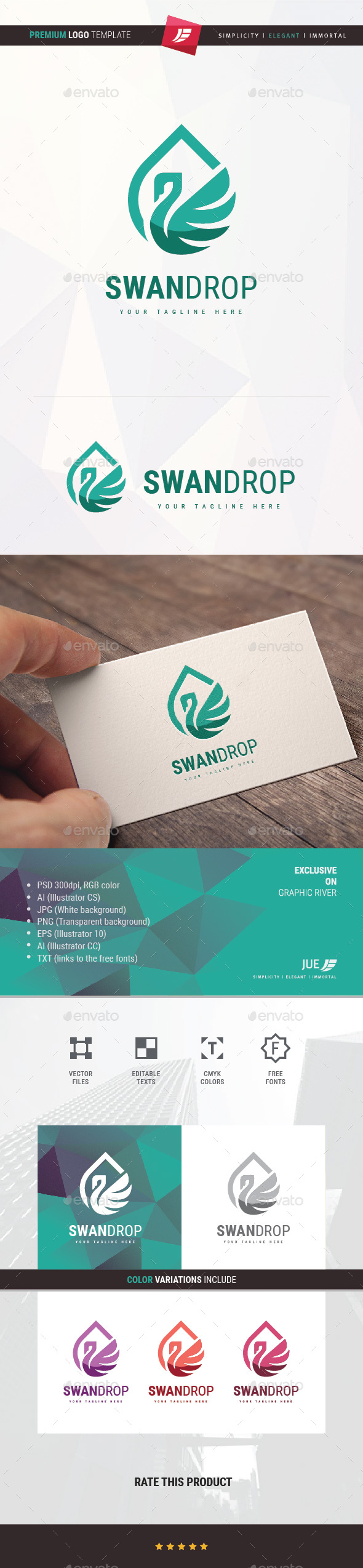 Swan Drop Logo - Animals Logo Templates