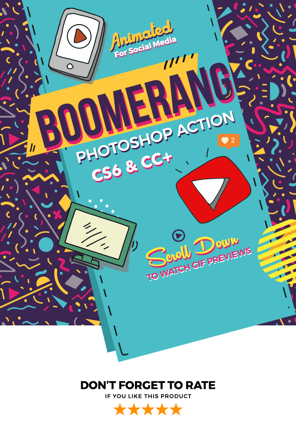 Boomerang Animated Photoshop Action - Photo Effects Actions