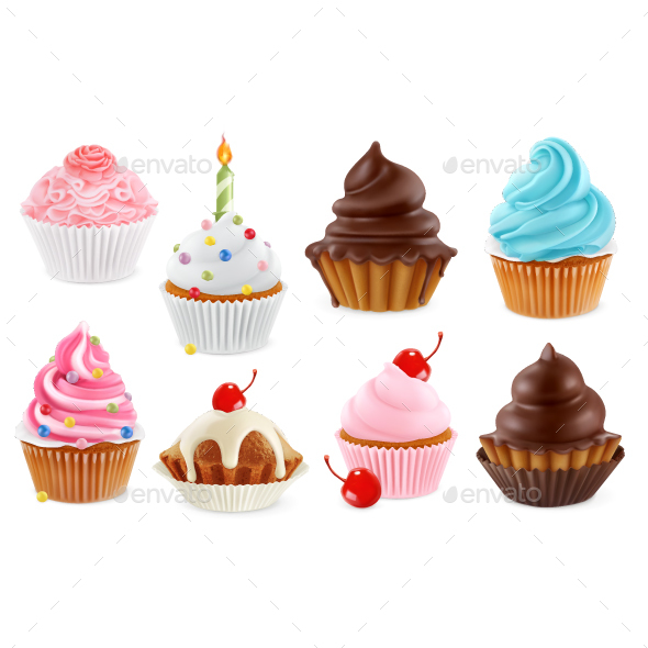 Cupcake and Fairy Cake - Food Objects