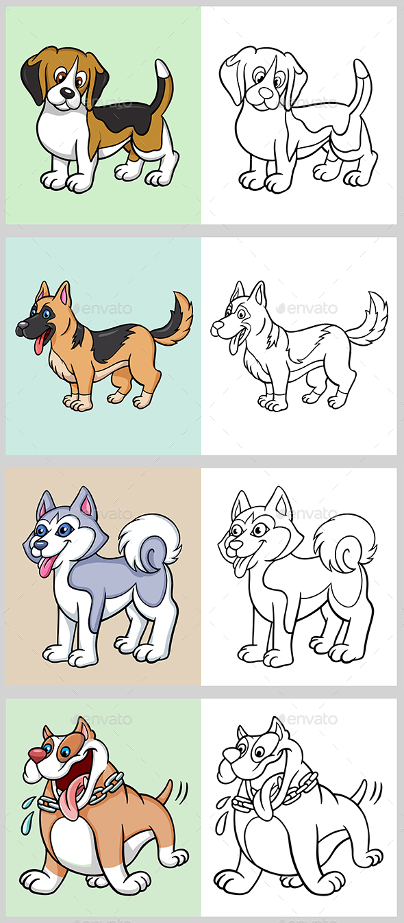 Dogs Coloring Book by ComicVector703 | GraphicRiver