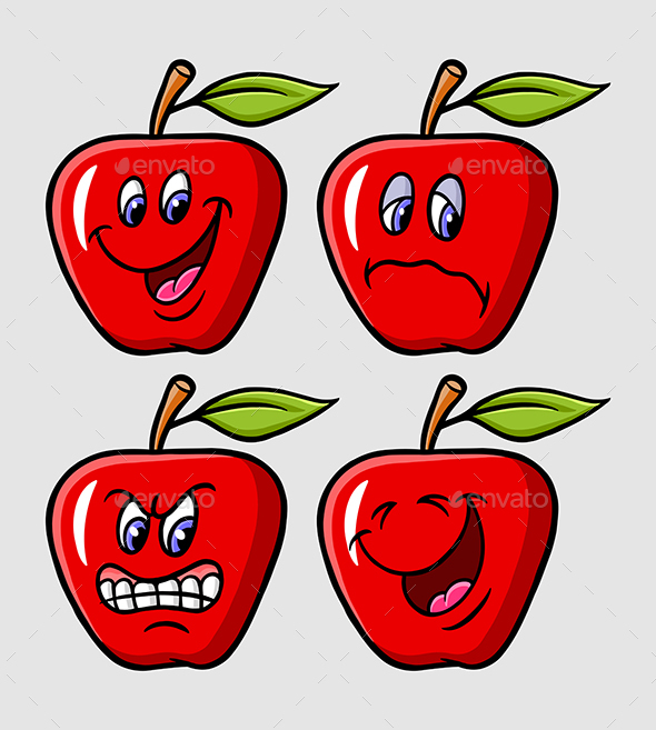 Apple Cartoon Expression - Food Objects