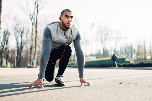 Jogger before running, active, healthy lifestyle - Stock Photo - Images
