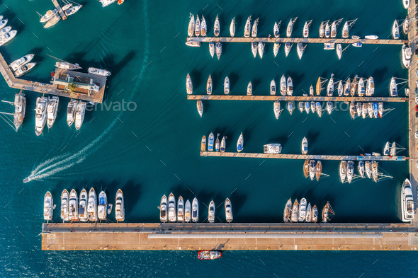 Aerial view of amazing boats at sunset. Minimalistic landscape - Stock Photo - Images
